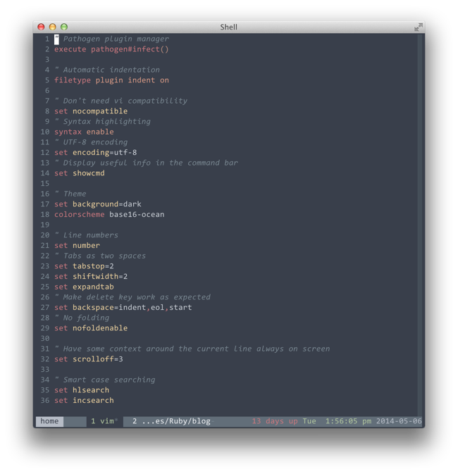 Consolas Italic in vim, running in a tmux session, running in iTerm2